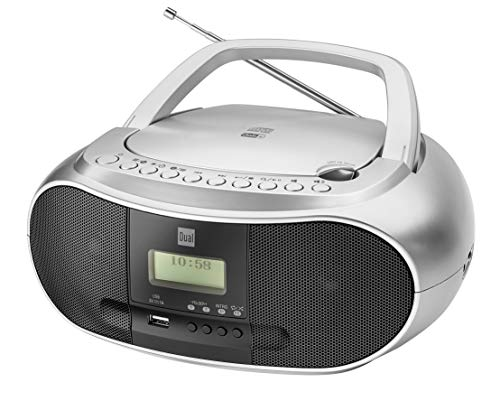 Dual DAB-P 170 Boombox mit Digitalradio (CD-Player (MP3), DAB+/UKW-Radio, AUX-IN, Bluetooth, Stereoklang) Silber
