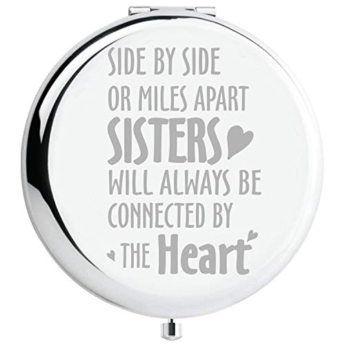 Fnbgl Sister Gifts from Sister Side by Side or Miles Apart Sisters Inspirational Silver Compact Mirror Best Sister Birthday Gift, Funny Ideas for Big Little Sister, Soul Sister, Best Friend