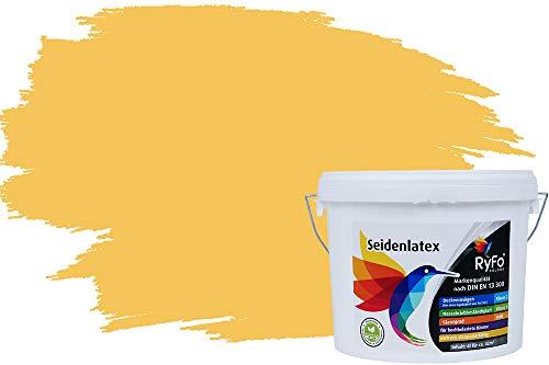 RyFo Colors Seidenlatex Trend Gelbtöne Maisgelb 6l - bunte Innenfarbe, weitere Gelb Farbtöne und Größen erhältlich, Deckkraft Klasse 1