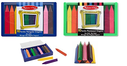 Melissa and Doug Jumbo Trianguar Crayons 10 Color and Fluorescent Color Set / for Age 3+ Non-Toxic