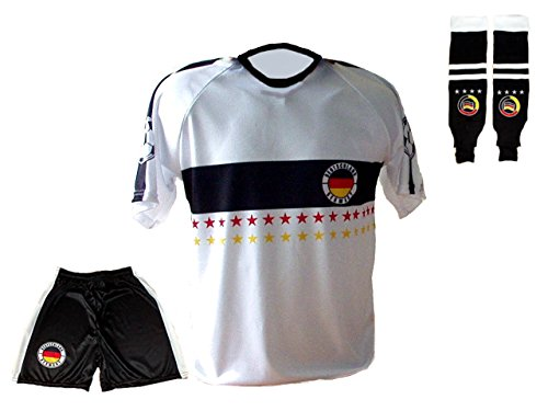 Spielfussballshop Deutschland Trikot Stars Hose Stutzen mit Wunschname Nummer Kinder Größen (134)