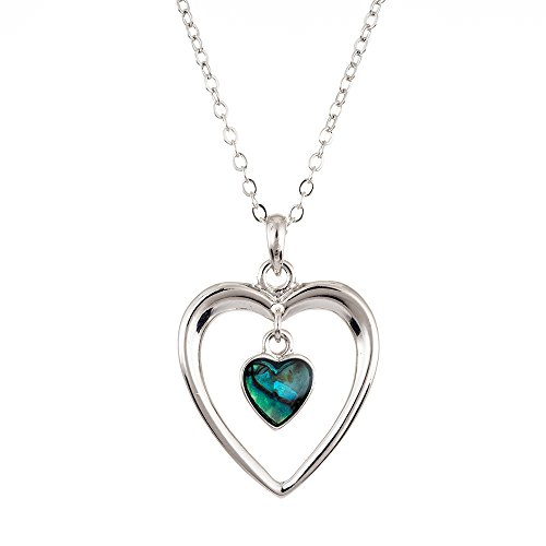 Paua Shell Natural Abalone Heart in Heart Necklace, Rhodium Plated in Delicate Blue/Green (P073)