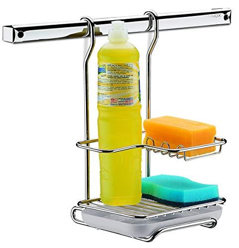 Suporte para Sabão, Detergente e Esponja Top Pratic, 17,5 x 17 x 19 cm, Aço Inox, Brinox