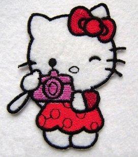 Hello Kitty mit eine Kamera Eisen auf Sew auf Patch Badge Aufnäher Motiv bestickt aus Aufnähen