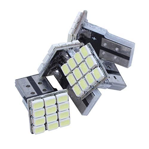 Beauneo T10 W5W Canbus Blanco 1206 12-SMD LED Coche Lampara de luz Bombillas 12V 4 Piezas