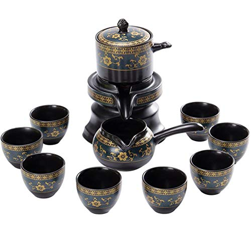 Annpee Chinese Ceramic Kungfu Tea Set,Semi-Automatic Stone Mill Teapot with Strainer,Black Tea Service Set for Adult