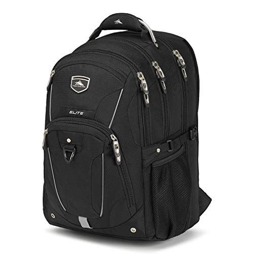 High Sierra Elite TSA-Friendly Laptop Backpack - Ideal for High School and College Students - Fits Most 17-inch Laptop Models, Black