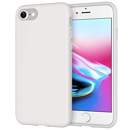 JETech Cover in Silicone Compatibile iPhone SE 2020/8 / 7, Custodia Protettiva con Tutto Il Corpo Tocco Morbido setoso, Cover Antiurto con Fodera in Microfibra, Bianco