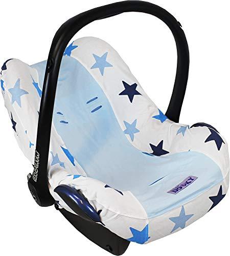 Dooky Seat Cover 0+ Blue Star Cubierta para el asiento de coche del bebé (para sistema de cinturón de 3 y 5 puntos, grupo de edad 0+, adecuado para la mayoría de las marcas), Azul
