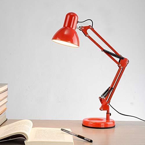 Lámpara de escritorio Lámpara de mesa, lámpara de mesa clásica ajustable con brazo oscilante largo LED moderna Lámpara de mesa con clip para estudiar y leer en la oficina halo nocturno (color del cuer