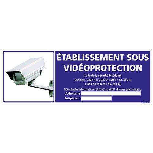 Adhésif - Etablissement Sous VidéoProtection - Dimensions 210 x 75 mm - Protection Anti-UV