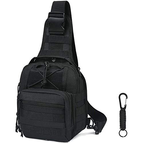 flintronic Sling Bag, Bolso Cinturón Táctica Militar Compacta 600D Nylon para Herramientas Pequeñas de Multiusos Teléfono Móvil al Aire Libre Deportes Senderismo y Camping, con 1 Mosquetón