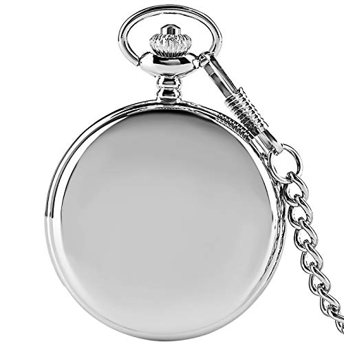 ZHAOXIANGXIANG Reloj De Bolsillo Retro,Moda Clásico Plata Brillante Retro Antiguo Reloj De Bolsillo Movimiento De Cuarzo Reloj De Bolsillo Grande Hombres Mujeres Cadena Colgante Regalo