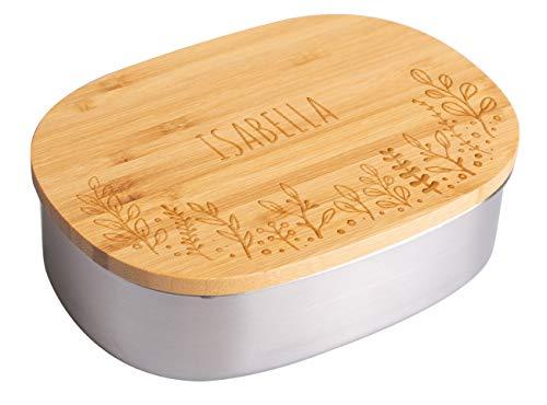 LAUBLUST Brotdose Personalisiert - Floral Motiv - Edelstahl Lunchbox mit Bambusdeckel - Geschenk Erwachsene & Kinder