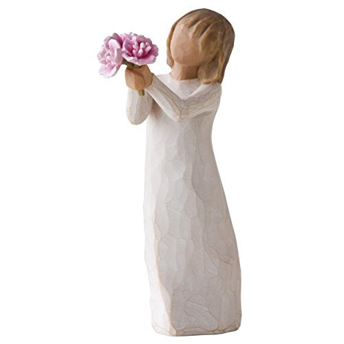 Willow Tree Thank You Girl Holding Pink Peonies Figurine 27267 New Demdaco by Willow Tree