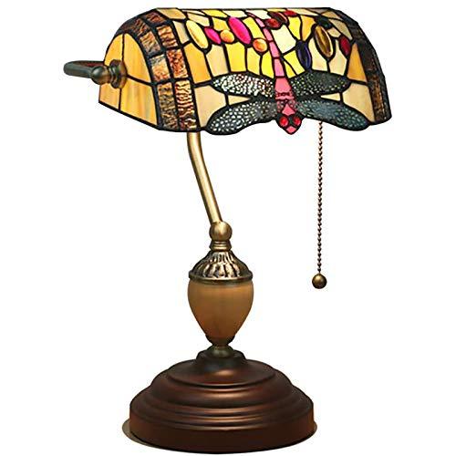 Lámpara De Mesa Vintage Tiffany Style,Antiguo Latón Banqueros Lámpara De Escritorio,Creativa Vidrieras Lámpara De Noche Para Trabajando Lectura-C 17x27x39cm(7x11x15inch)