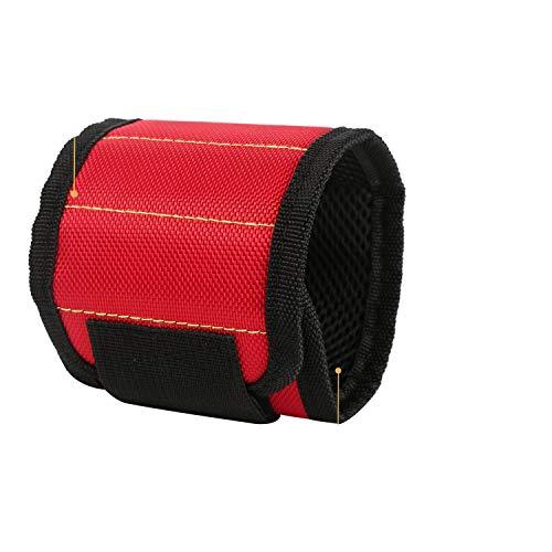 KAEHA FANXD-06 magnetische armband, magneet, armband, werk voor het bevestigen van schroeven, scharen, spijkers, ademend materiaal, knutselen voor kleine gereedschappen (rood)