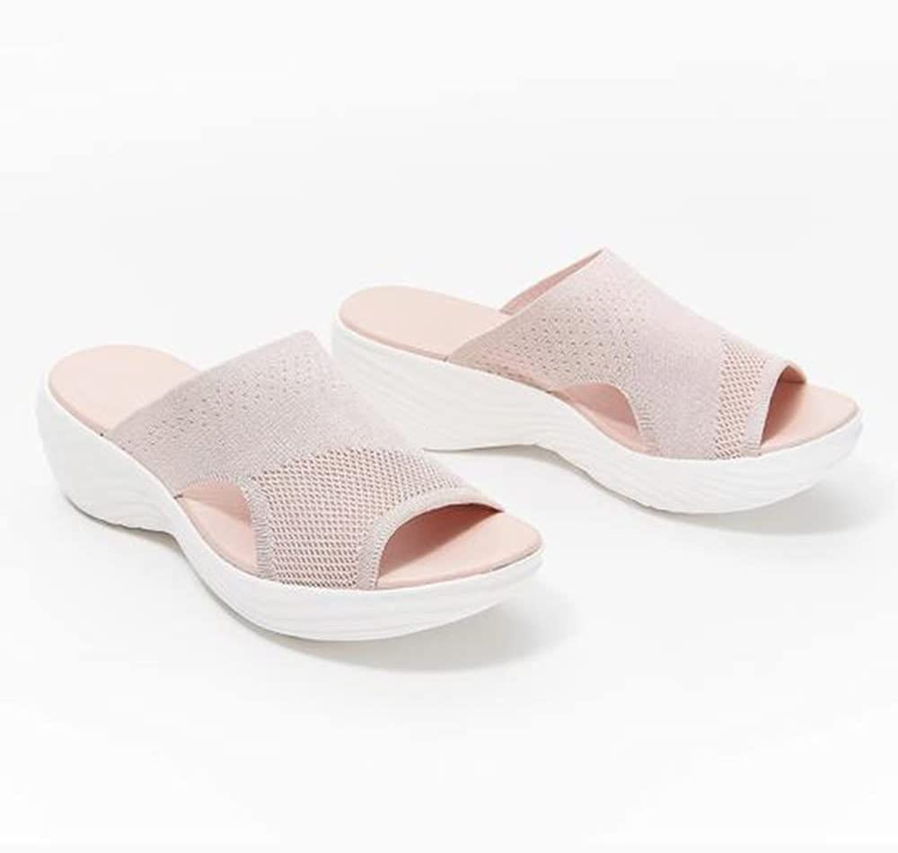 Happyjiu Comfy Stretch Sandals, Summer Washable Slingback Orthopedic Slide Sport Sandals, Women's Comfy Sports Knit Sandals