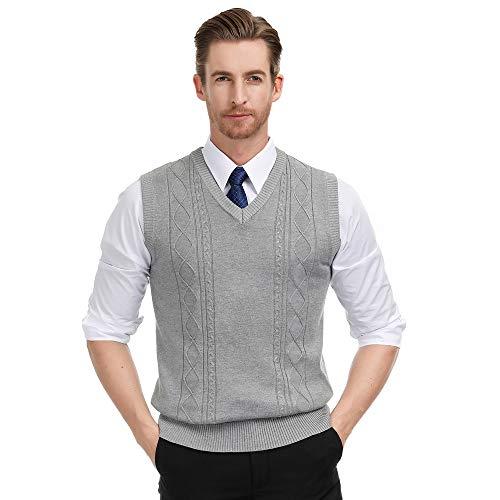 PJ PAUL JONES Men's V Neck Soft Sweater Vest Argyle Cable Knit (S,Grey)
