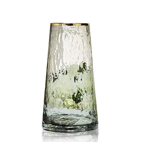ZHJYDD HPJJZHSH Jarrón de cristal japonés pintado en oro, arreglo de flores para plantar agua simple y creativa, decoración de botellas frescas