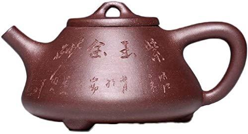 Reparto de barro del hierro electrónico del multímetro de Yixing Hecho a Mano mineral púrpura piedra del jade de la pared interior Capítulo juego de té (Color: barro púrpura) la decoración del hogar a