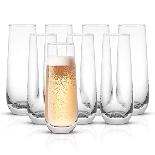 JoyJolt Milo Stemless Champagne Flutes Set of 8 Crystal Glasses. 9.4oz Champagne Glasses. Prosecco Wine Flute, Mimosa Glasses Set, Cocktail Glass Set, Water Glasses, Highball Glass, Bar Glassware