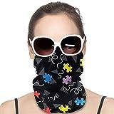 LREFON Braga de Cuello con dise Rompecabezas coloridos de concienciación sobre el autismo Unisex Microfiber Neck Warmer Neck Gaiter Face Mask Bandana Balaclava