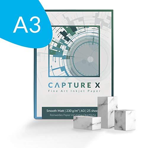 CAPTURE X Smooth Matt, 230g/m², A3, 25 Blatt Box - reinweiß, glatt - Fine Art Paper