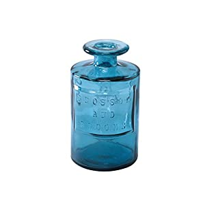 Silk Flower Arrangements Time Concept Valencia 100% Recycled Glass Jar - Siete, Blue - Handcrafted Flower Vase, Home Centerpiece Décor