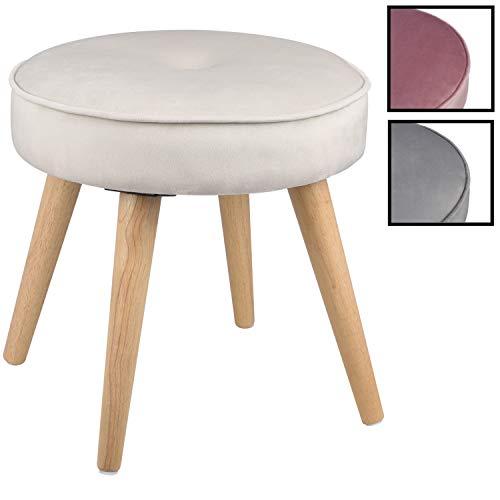 Ribelli Hocker mit 4 Beinen - ca. Ø 40 cm - Extra Dicke Sitzstärke: ca. 8,5 cm - bis zu 120 kg belastbar - Sitzhocker (beige)