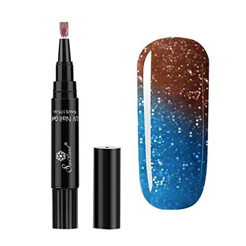 Maniküre Ein Schritt Nagellack-Stift Farbverlauf Temperaturänderung Nagellack Zweifarbig Glänzend...