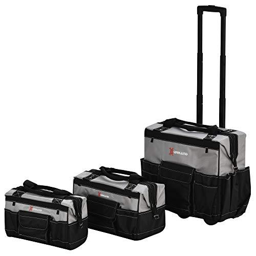 DURHAND Werkzeugtrolley 3 tlg. Werkzeugtaschen-Set leer und unbestückt 3-Größe Werkzeugkoffer mit Rollen Oxford-Gewebe Schwarz+Grau