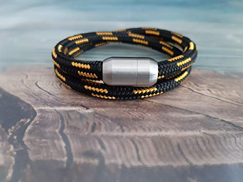 Handmade, Damen, Herren, Armband Edelstahl- Segelseil, Seil Wickel Armband Schwarz/Goldgelb, Größe frei wählbar