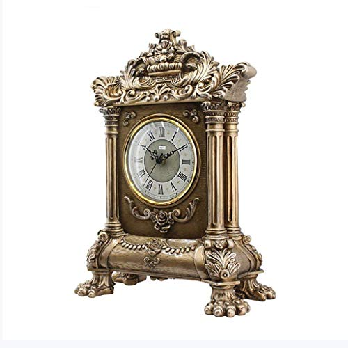 LHQ-HQ Reloj de escritorio para familia, reloj clásico retro, de resina, silencio, funciona con pilas, para sala de estar, dormitorio, oficina (color, oro antiguo, tamaño, 43 x 31,5 cm), antiguo