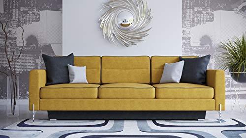 MG Home Sofa Doppelschlafsofa Dreisitzer-Sofa schmutzabweisendes Gewebe auf Beinen mit Schlaffunktion mit einem Behälter für Bettwäsche Arte DL (Gelb)
