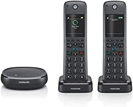 Motorola AXH02 DECT 6.0 Smart Cordless Phone and Answering Machine with Alexa Built-in – 2 Cordless Handsets Included