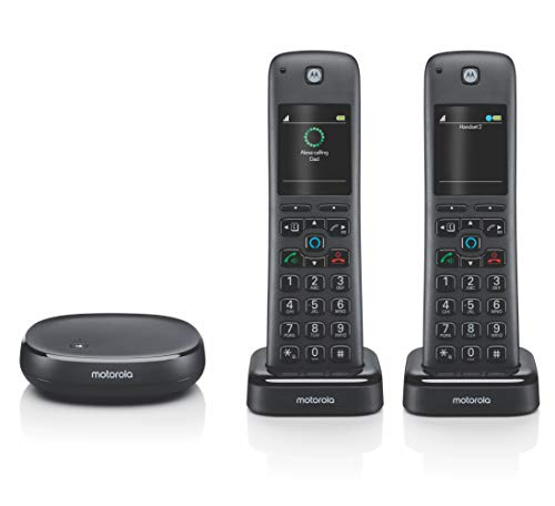 Motorola AXH02 AX Series DECT 6.0 Cordless Digital Phone and Answering System with Built-in Alexa (2...