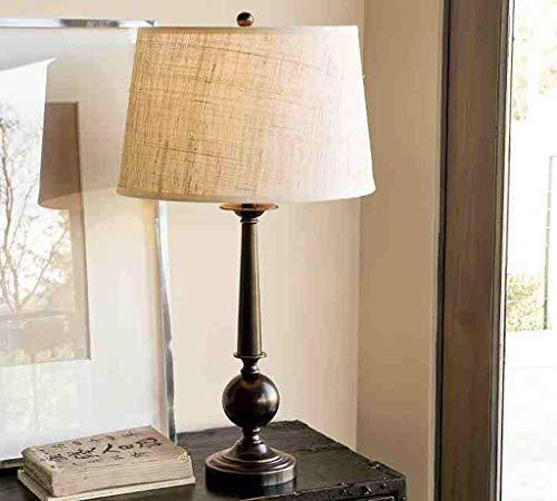 HYY-YY Lámparas de mesa, personalidad simple nórdica estadounidense minimalista sala de estar de la lámpara, el estudio creativo tela retro Negro Hierro forjado lámpara, lámpara de cabecera del dormit