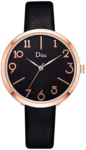 Mano Reloj Relojes for mujer Relojes de pulsera Reloj de aleación de señoras clásicas Cinturón de cuero artificial Cinturón de cuero Hombres y mujeres Simple Clásico Reloj de cuarzo Regalo Negro Reloj
