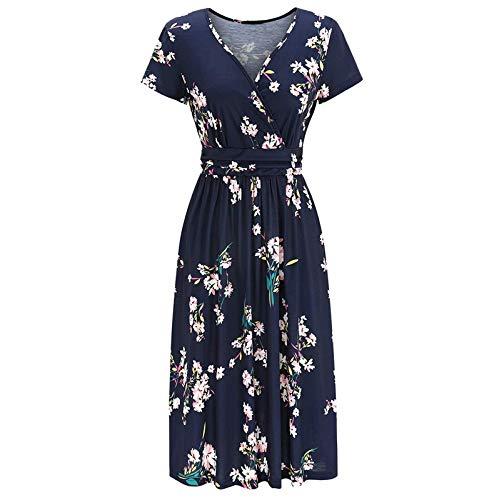 RONGYP Vestido de verano para mujer, informal, holgado, con estampado de flores, cuello en V, elegante, estilo bohemio Negro M