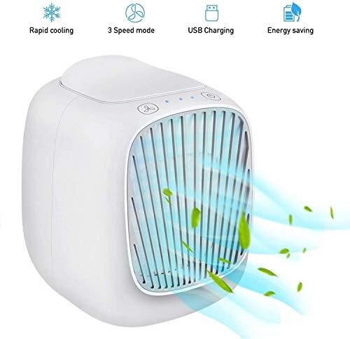 RENXR Persönliche Luftkühler Tragbare Mini- Klimaanlage, 3 in 1 Tischlüfter USB-Beweglicher Fan Klimaanlage Luftbefeuchter Kann Hinzufügen Wasser/EIS,Weiß
