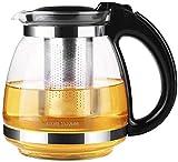 Teeservice Teekanne Glasteekanne Teekannen Glaskessel Glas 1 5L Teekannen-Qualitäts-Teesieb mit herausnehmbarem Aufguss Pro Design Teekanne mit innenliegendem Teefilter @ Black_1500ml-Black_1500ml