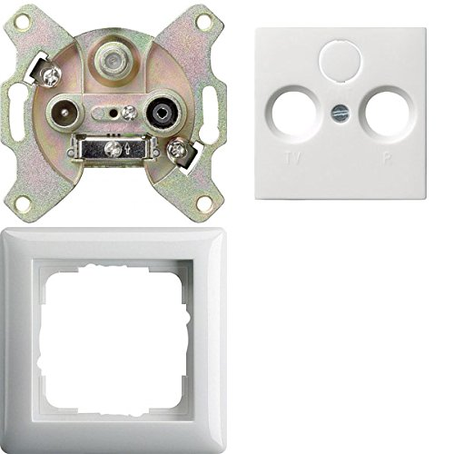Komplett-Set Gira Standard 55 Rahmen, 1-fach - Reinweiß, glänzend mit Abdeckung, 3-fach, Antennendose + Einsatz, Antennendose, R -GIRA- -weiß-