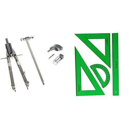 Faber Castell - 174607 - Compasso Balaustrone Tech a regolazione rapida in metallo aste snodabili L + 65021 - Pack escolar con escuadra, cartabón, regla y semicírculo, color verde