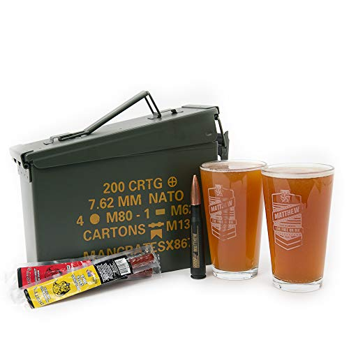 Man Crates Personalized Pint Set Ammo Can – Includes 2 Laser-Etched Pint Glasses, Personalized .50 Cal Bottle Opener, Peppered Jerky Sticks and More – Great Gifts for Men