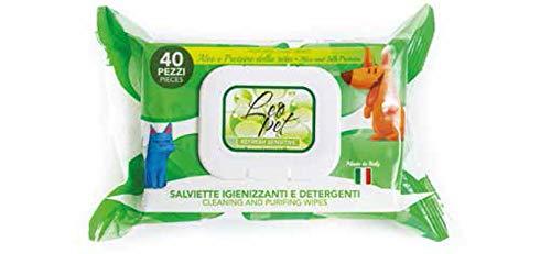 Leopet Lingettes désinfectantes et nettoyantes pour Chiens et Chats au Parfum d'Aloe & protéines de Soie 40 pièces