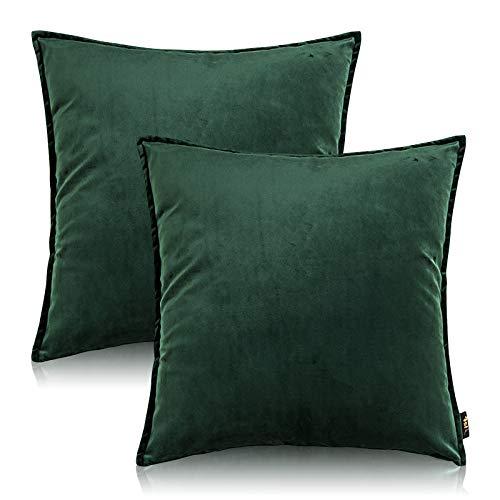No-Branded Fodere per Cuscini, Federe quadrate Morbido Fodere per Cuscini in Velluto con Cerniera Fodere per Cuscini per Divano Decorativo per la casa, (45x45 cm, Verde)