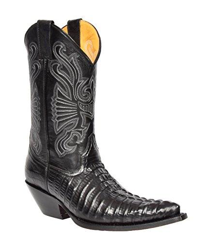 House of Luggage Herren Echte Leder Cowboy Stiefel Western Absatz Wadenlänge Spitz Zehe Schuhe HLG03CA (EU 46, Schwarz)