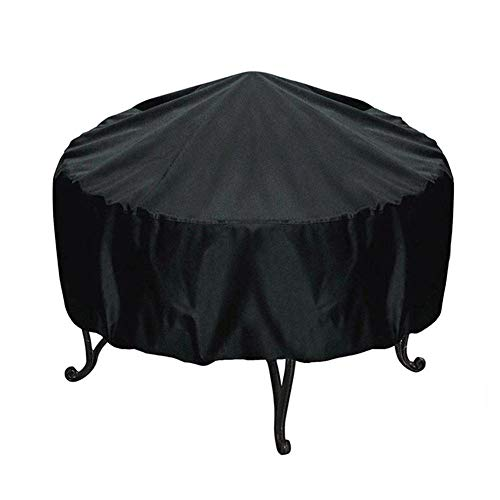 XFYS Outdoor Patio Fireplace Cover Round Fire Pit Waterproof Cover Black Cover for Outdoor Garden Furniture Cover-84cmX50cm