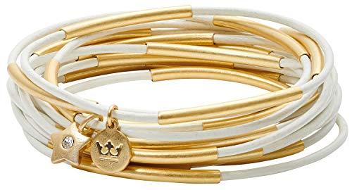SENCE Copenhagen Damen Armband Gold - Secret Garden 2019 Serie Urban Gipsy Bracelet Light White Leather Matt Gold Vergoldet - BK889